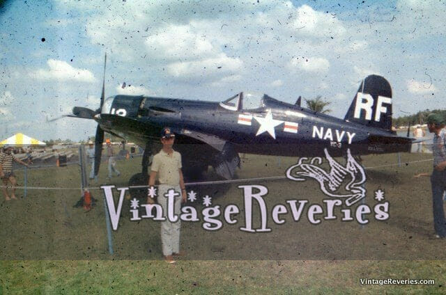 Old air show picture with a military plane