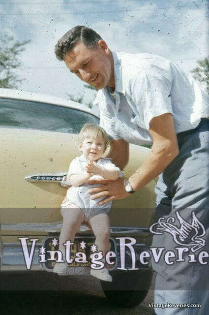 1950s Father and Daughter with Vintage Car