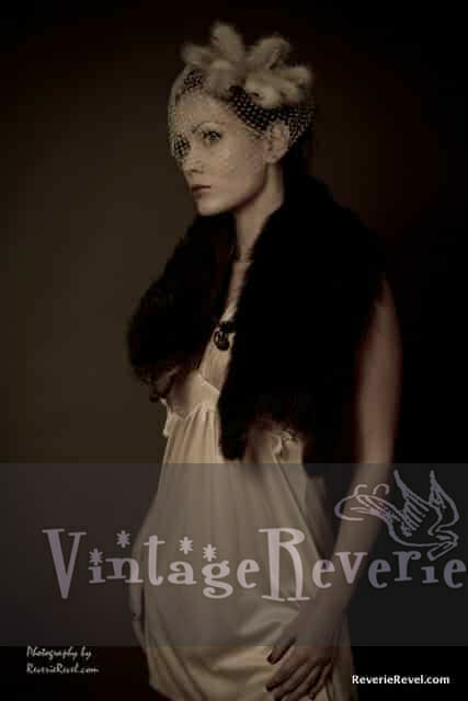 1930s style fur, hat, and slip