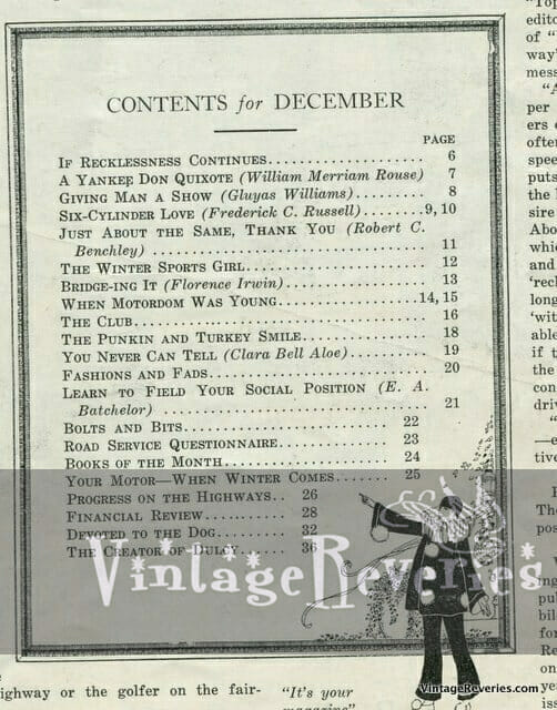 Table of contents Missouri Auto Club 1922