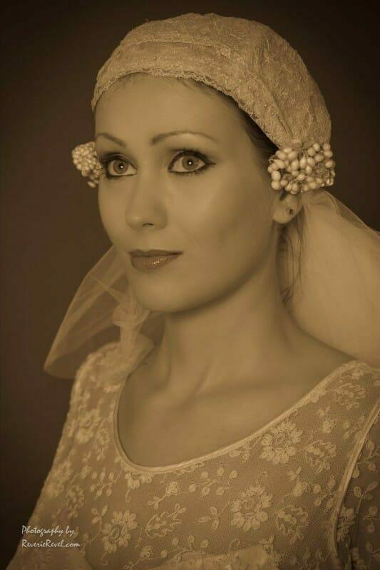 1920s veil and wedding dress