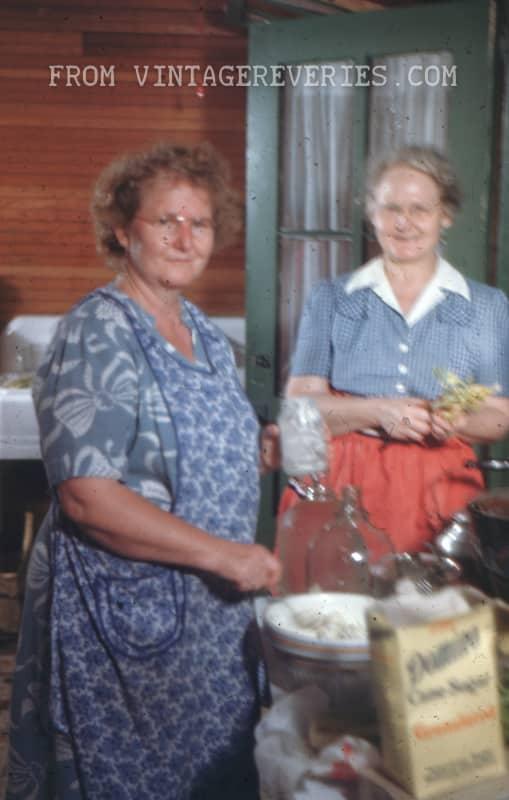 Old ladies cooking using Domino Sugar