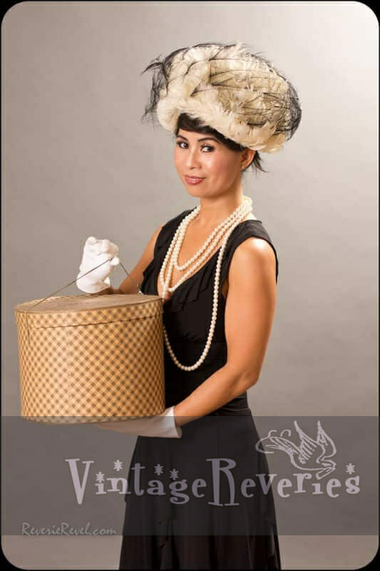 1950s feathered hat and hat box