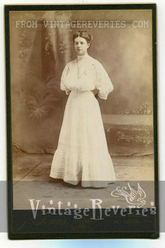 white edwardian era dress