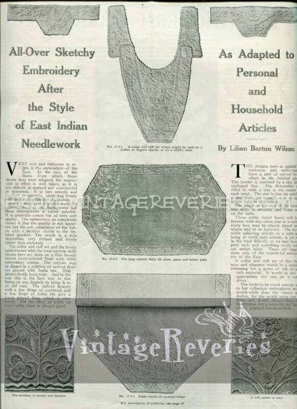 turn of the century embroidery pattern - April 1917 issue of The Modern Priscilla