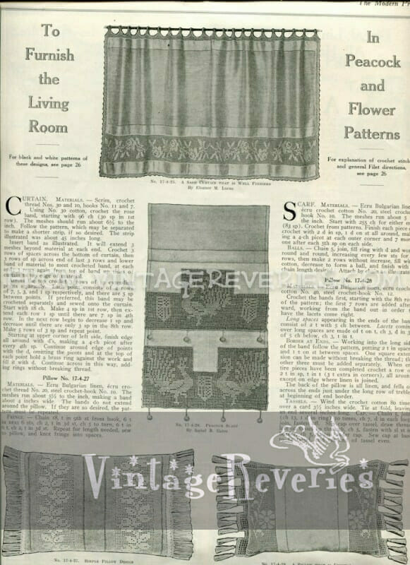 peacock and flower pattern embroidery instructions - April 1917 issue of The Modern Priscilla