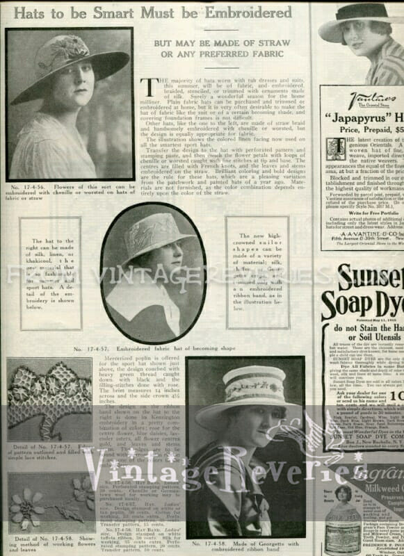 A Hat to be Smart Must be Embroidered - Edwardian Summer Hat Fashions