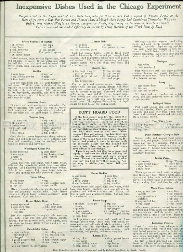 World War I recipes