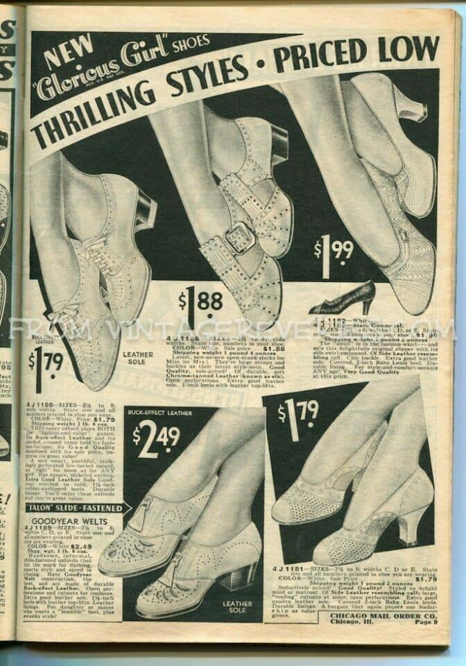 1930s ladies shoe fashions