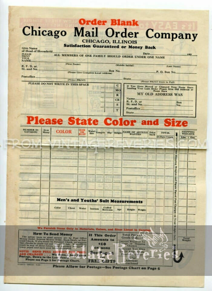 1930s catalog ordering form and marketing material