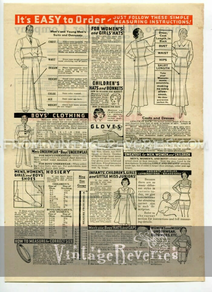 How to Measure for Clothing – from the Summer 1935 Chicago Mail Order Catalog