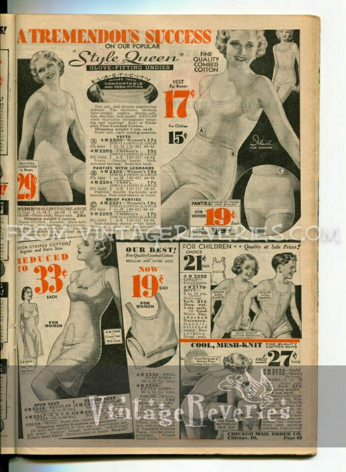 1930s undergarments, garters, and lingerie fashions