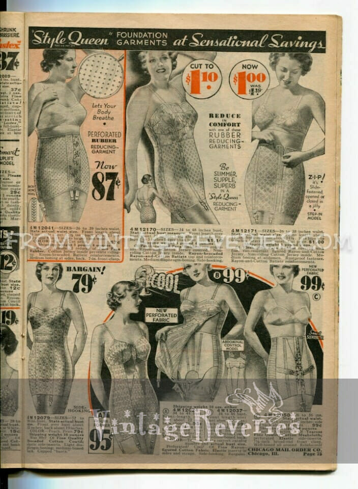 1935 Lingerie and Foundation Fashions – garters, corsets, shapewear, bras…