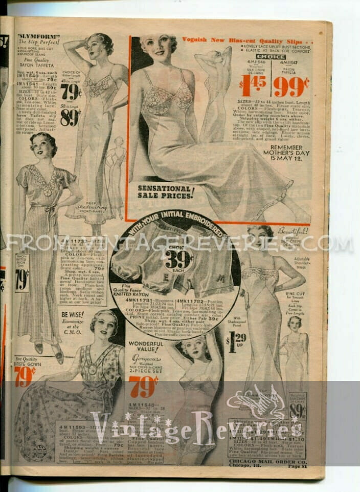 1930s bra, panty, slip, foundation illustration