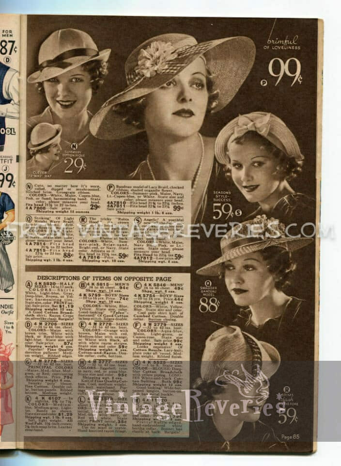 old hat advertisements - 1930s