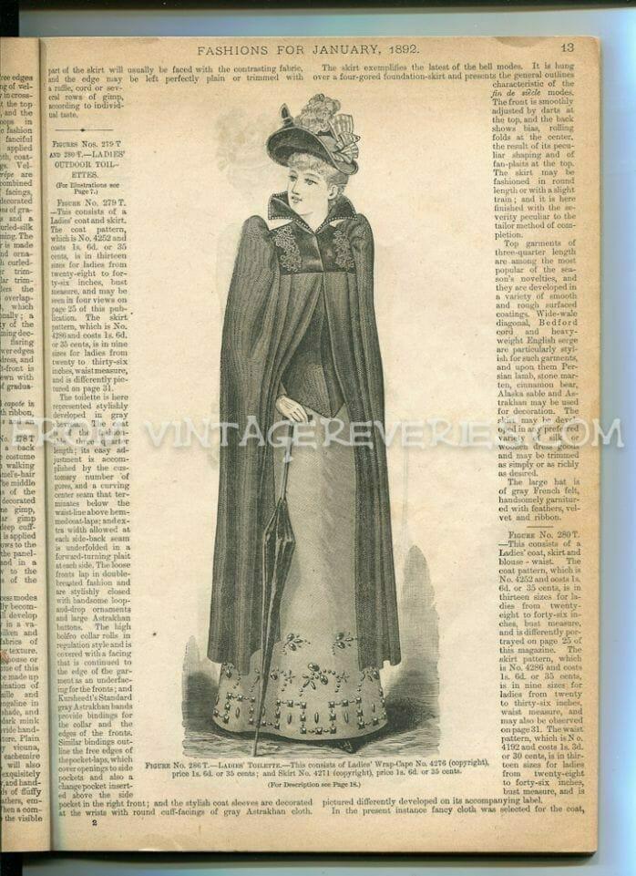 1890s woman in a cloak fashion illustration