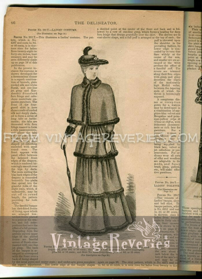 1890s woman in winter wear illustration