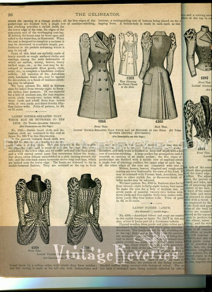 1890s double breasted coat and pannier basque illustration