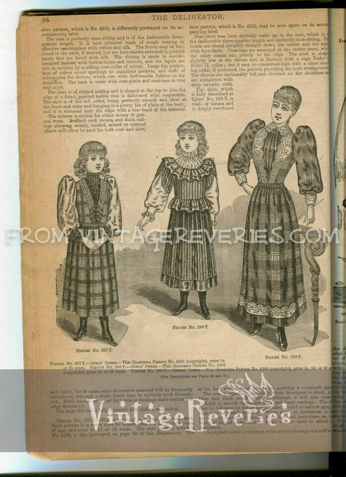 young woman fashion illustrations 1890s