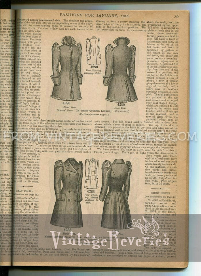 coats for girls in the 1890s