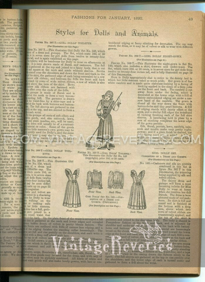 1890s doll clothing