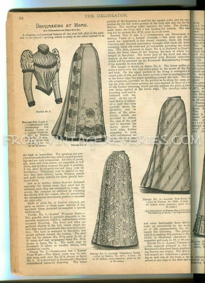 1890s umbrella skirt and bell skirt fashions and fabrics