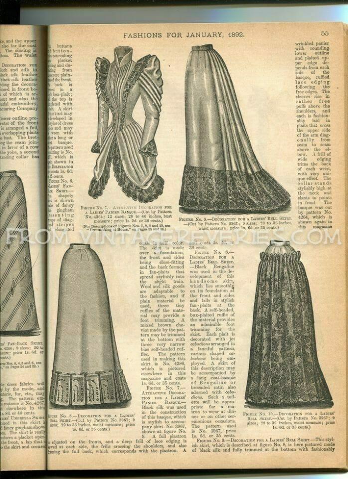1890s walking skirt and pannier basque illustration