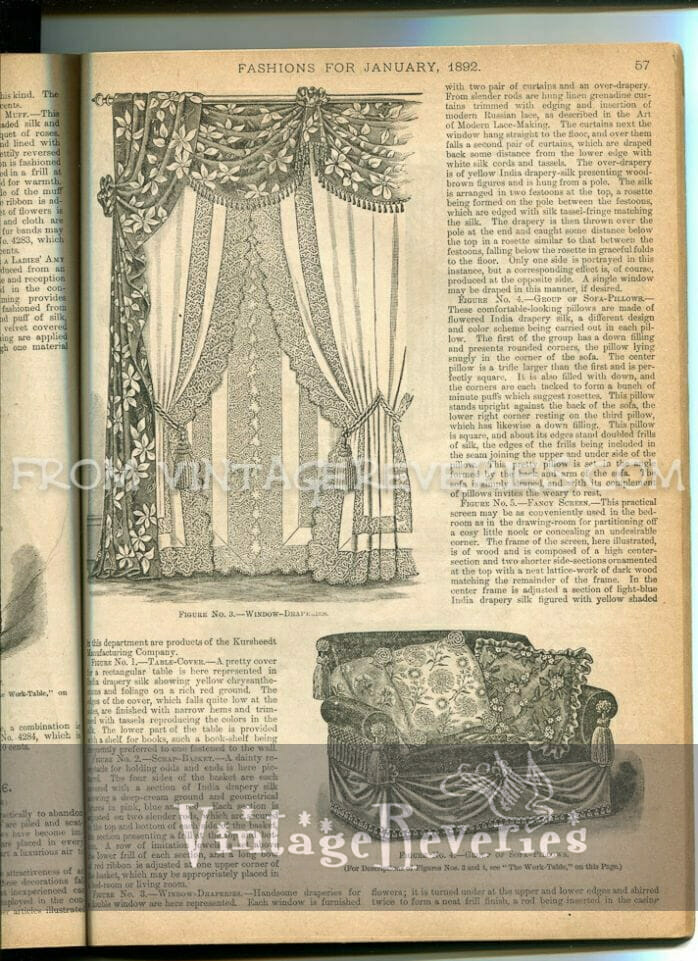 1890s window drapes fashion and couch