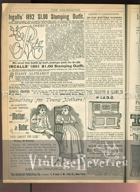 victorian baby care and piano advertisements