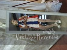 1960s red white and blue mod mini dress
