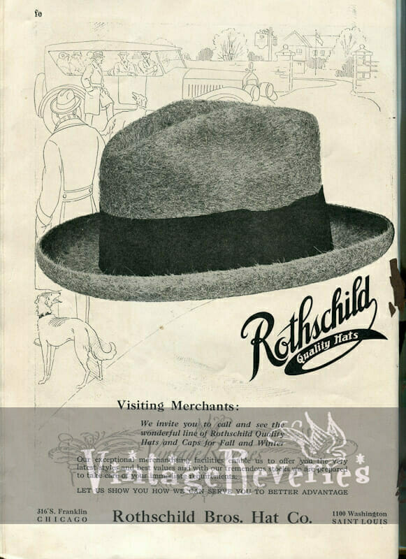1920s mens hat ad