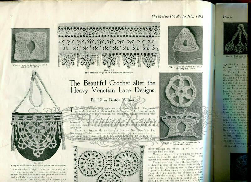 Venetian Design Crochet Patterns from the July 1913 Modern Priscilla