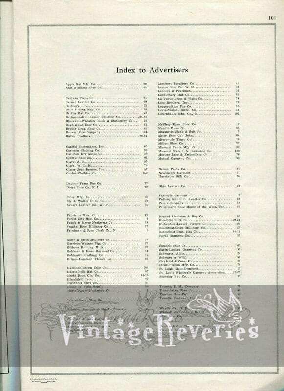 Index of advertisers st louis fashion pageant 1924