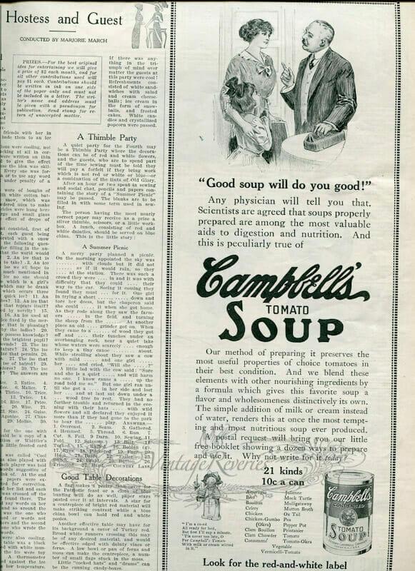 campbells soup ad 1913