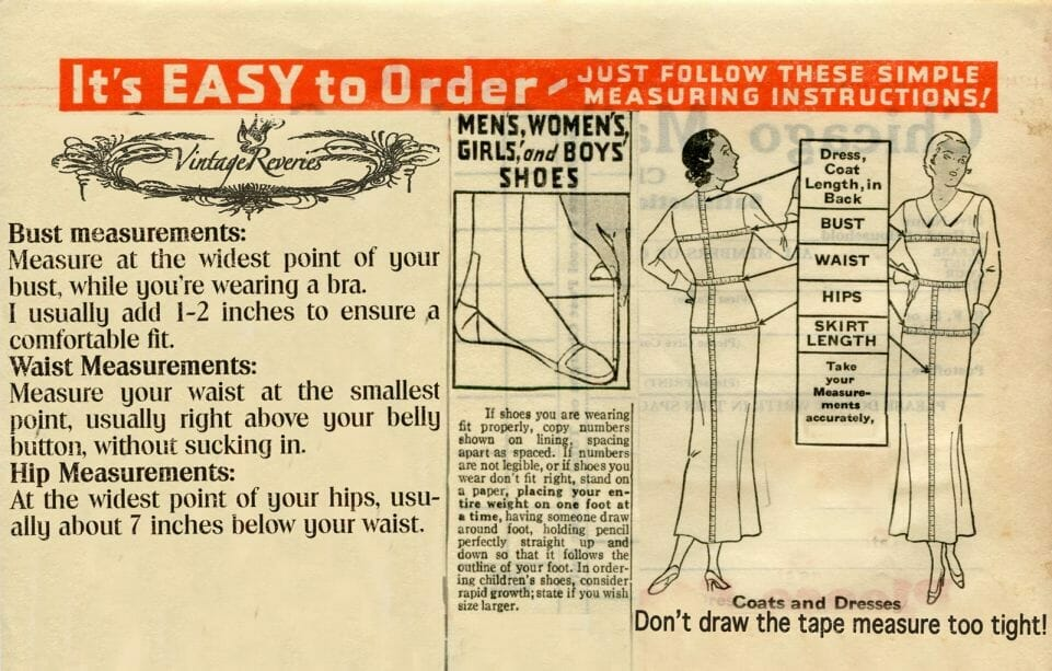 how to measure yourself for buying vintage clothing