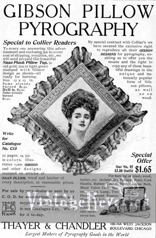 A Pyography pattern ad and other Misc Gibson Ads and Ephemera