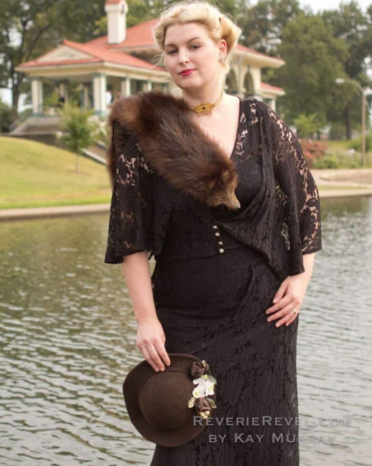 model in a black lace dress