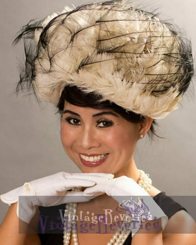 vintage 1960s feathered hat