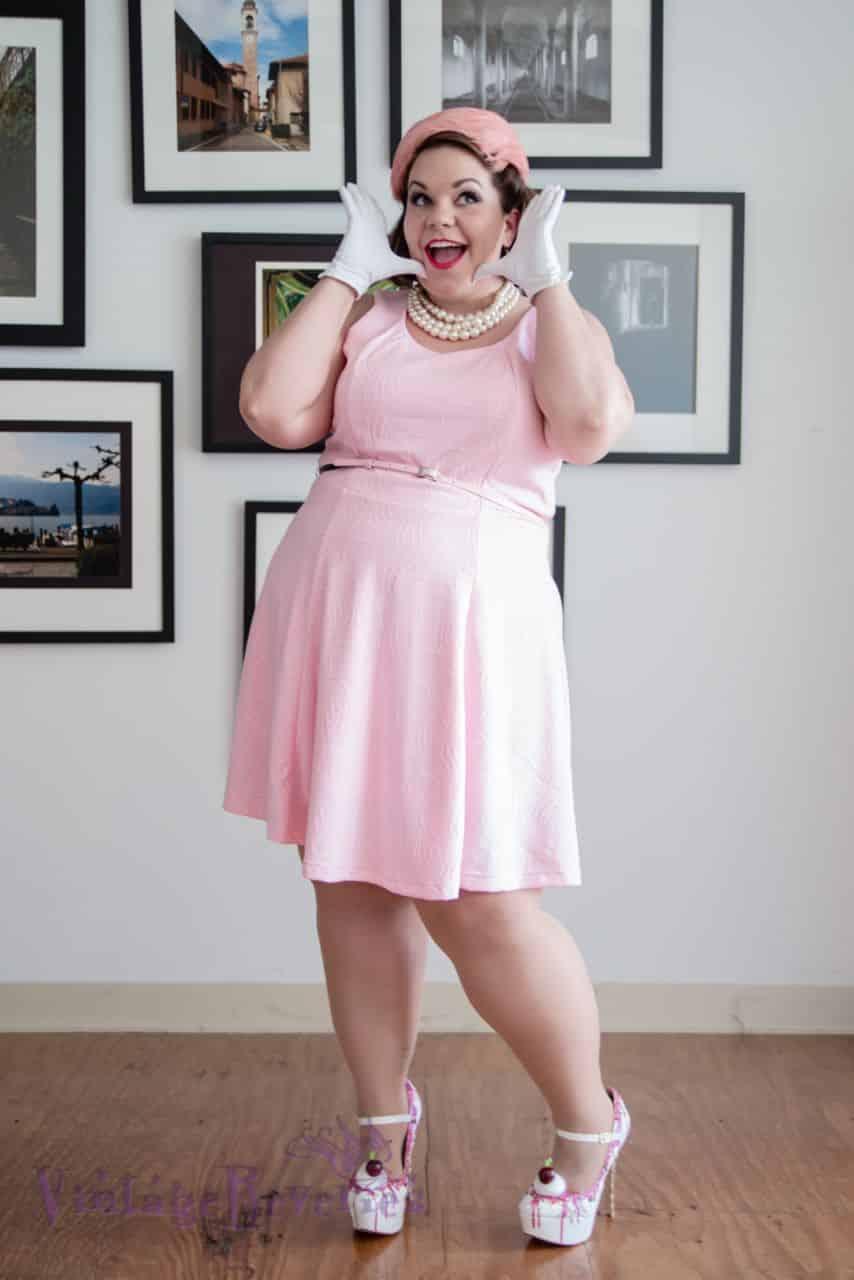 pink retro dress