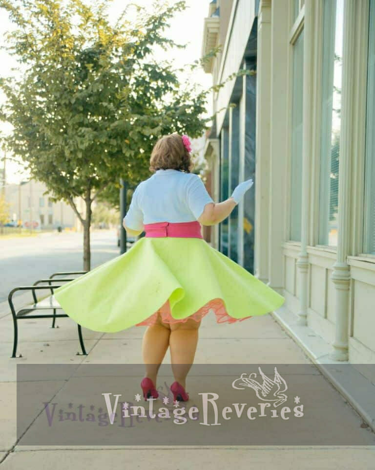 hot green circle skirt