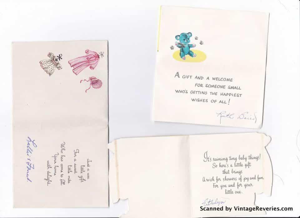 1960s baby shower cards inside