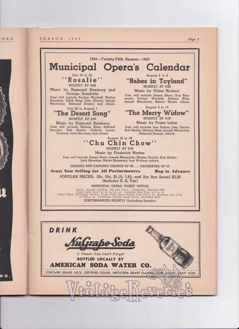 1940s theater program advertisements