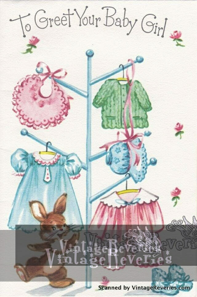 To your baby girl early 1960s baby card scan