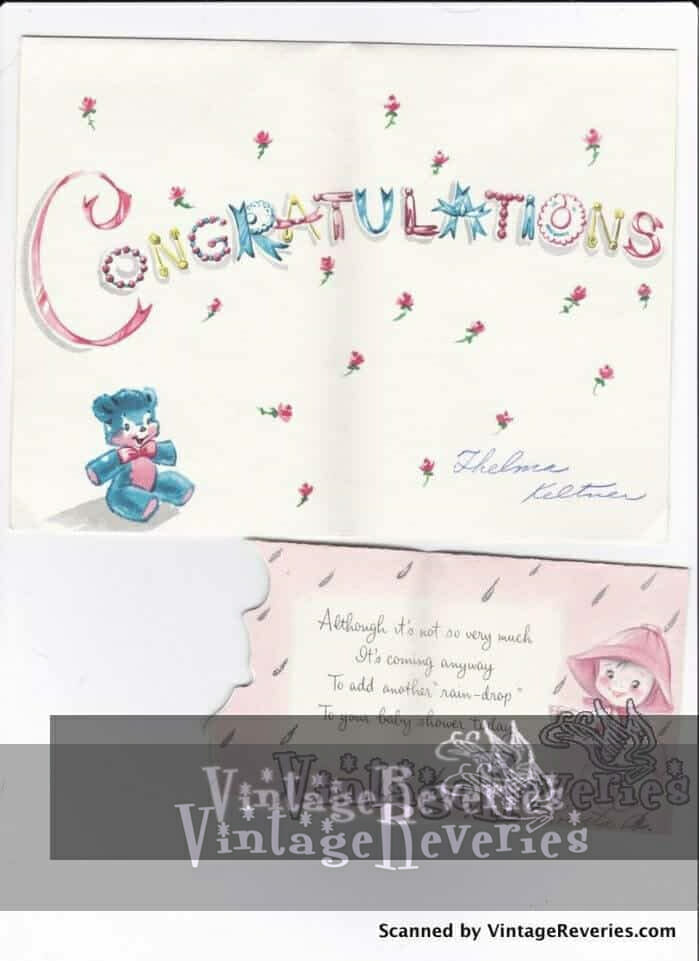 Congratulations on the new baby cards 1960s