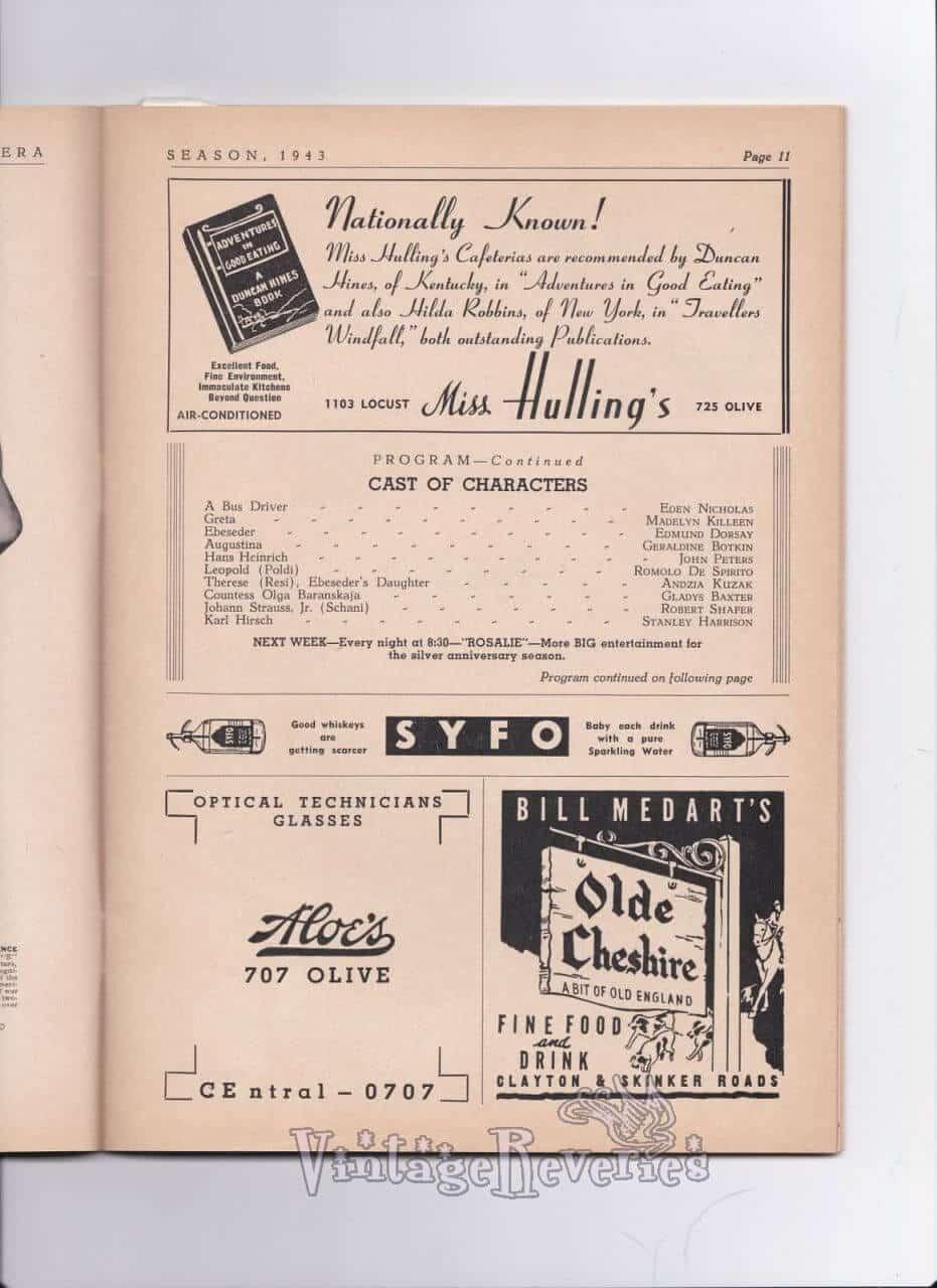 WWII St. Louis restaurants advertisements