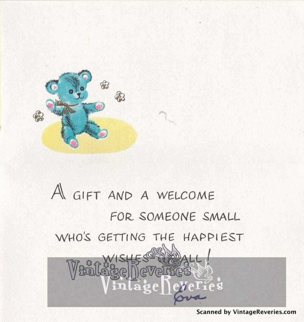 rhyme inside a 1960s baby shower card