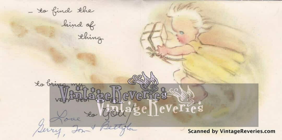illustrated 1960s new baby greeting card