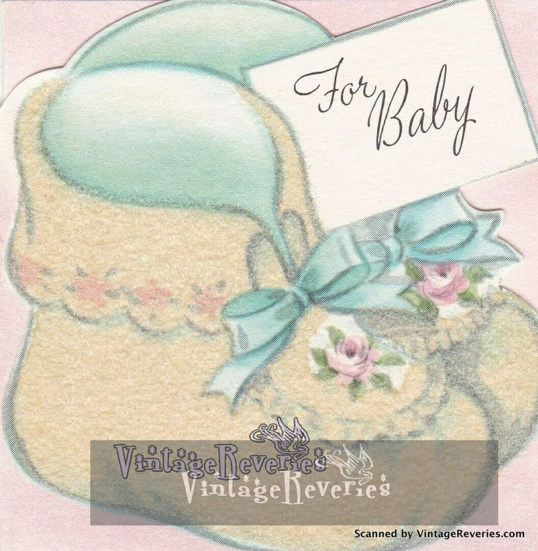 baby shoes illustration for baby early 1960s