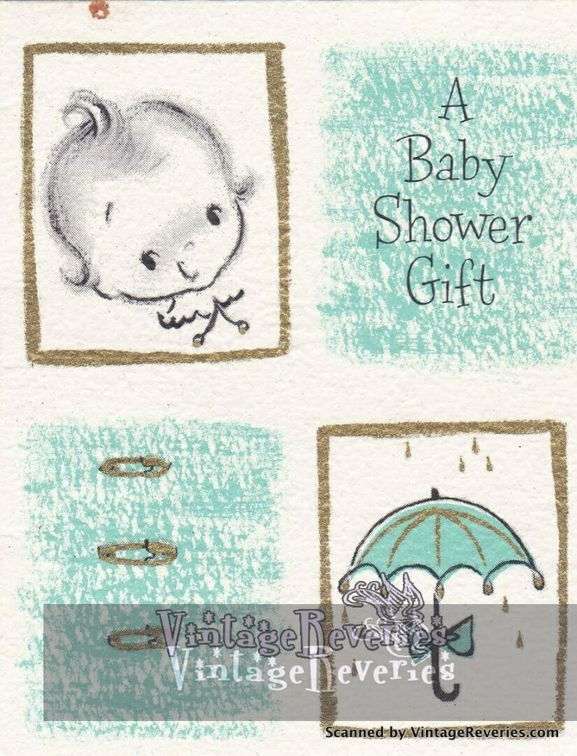 early 1960s baby shower card illustrated