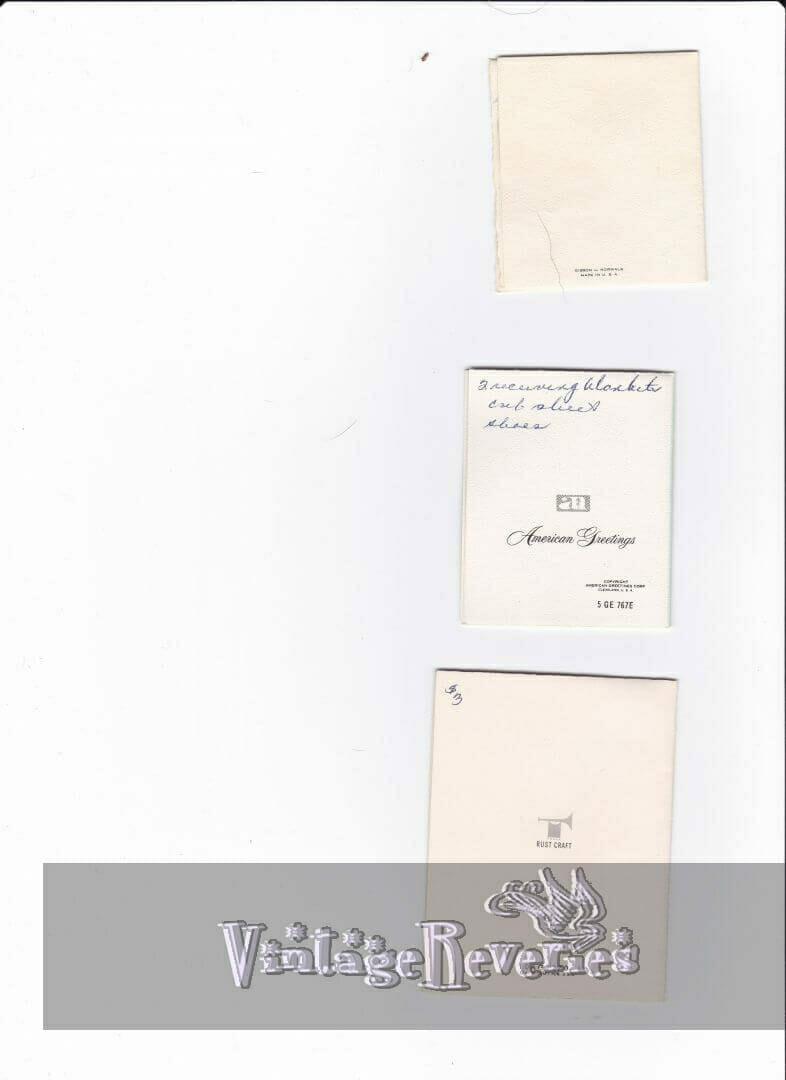 backs of 1960s baby shower cards